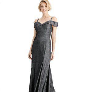 R & M Richards Cold-Shoulder Metallic Mermaid Gown